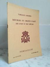 Catalogue de vente Tableaux Anciens Meubles -Objets D'art  22 Octobre 1972