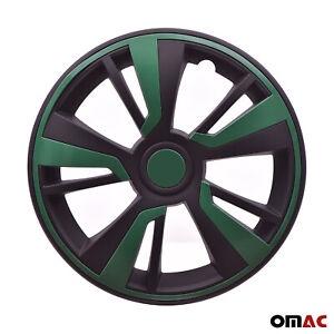 15'' Hubcaps Wheel Rim Cover Black with Green Insert 4pcs Set For Mercedes-Benz