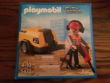 Playmobil 5472 Construction Worker with Jack Hammer & Compressor New in Box!