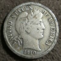 1910 P Barber dime Very Fine VF Original Problem Free almost XF Extremely Fine