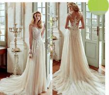 Lace Scoop Neck Chiffon Sleeveless Wedding Dresses