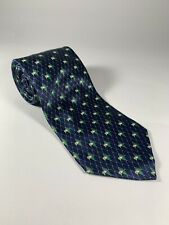 Yves Saint Laurent Lilly Pad Flower Tie Blue Green White All Silk Classic Length