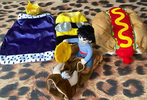4 DOG/PET MIXED CLOTHING INCL Cowboy/Hotdog/Queen/King/Bee Outfits Large Size