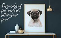 Personalised Watercolour Print Pet Portrait Cat Dog Horse Any Animal Pet Art