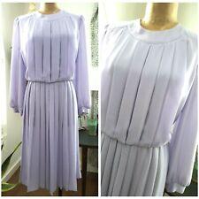 Vintage 80s Accordion Pleated Sheer Chiffon Dress Size Medium Lavender Midi