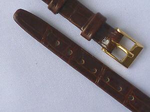 Hirsch ladies brown 10mm real babycroco watch strap with gilt buckle