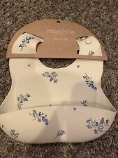 New listing Brand New! Girls Cream Blue Flower Silicone Mushie Bib