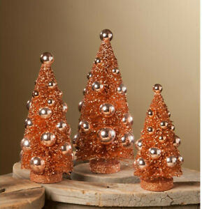 3 Bethany Lowe Romantic Fall Bottle Brush Christmas Tree Sunset Halloween Orange