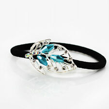 Turquoise Blue Crystal & Rhinestones Leaf Hair Band Wrap Accessories HA125