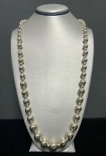 """Vintage Sterling Silver Graduated Beaded Strand Necklace 30"""" - 57.5 grams"""