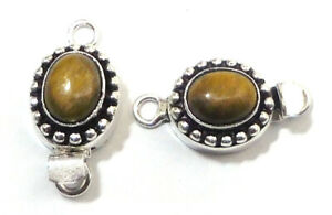 1 PC TIGER EYE BOX CLASP 1 STRAND ANTIQUE STERLING SILVER PLATED 782