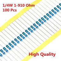 100Pcs 1/4W 0.25W Metal Film Resistor ±1% 56 120 150 180 430 470 680 1-910 Ω Ohm