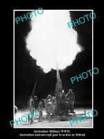 OLD POSTCARD SIZE PHOTO AUSTRALIAN MILITARY WWII, TOBRUK ANTI AIRCRAFT GUNS