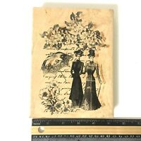 Treasure Cay Gibson Girl & Script LARGE Wood Rubber Stamp Victorian Lady Floral