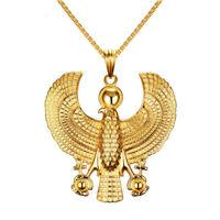 Horus Bird Falcon Gold Plate Pendant Men Necklace Egyptian Biker Gift Jewelry