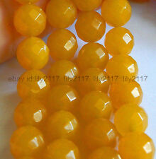 Jewelery Making Beautiful 8mm Natural Yellow Faceted Jade Gemstone Beads Strand
