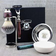 5 PIECE SHAVING SET Synthetic Brush & Gilette mach3 Razor Men's Grooming Gift