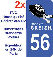 Sticker Autocollant immatriculatioDépartement 56 Morbihan Bretagne Breizh X2