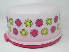 Tupperware Vintage Style 12 Inch Round Dome Cake Taker Pink Base