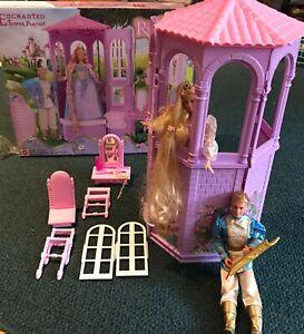 2002 Mattel Barbie Rapunzel Enchanted Tower Playset w/ Rapunzel Barbie & Prince