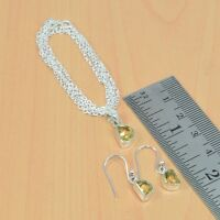 925 SOLID STERLING SILVER NATURAL FACETED CITRINE PENDANT-CHAIN-EARRING W03599