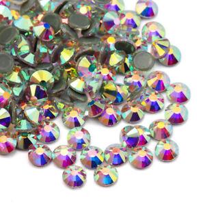 1440pcs Crystal AB Iron On Hotfix Rhinestones Hot Fix Flatback Diamond Gems