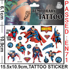 Superhero Superman Kids Gift Temporary Art Tattoo Sticker Removable Waterproof