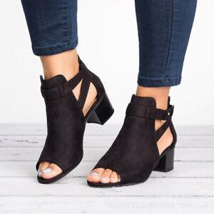Ladies Low Mid Block Heels Sandals Peep Toe Ankle Boots Womens Summer Shoes