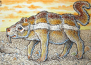 ACEO  Fantasy Original Prehistoric Saber Toothed Ground Squirrel