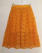 NY&C Boho Romantic Marigold Funky Lagenlook Applique Mesh Overlay Skirt Sz XS