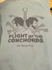 FLIGHT Of The CONCHORDS T-Shirt * Pale Blue with Navy Logo * Men's Large Comedy