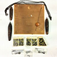 """Cuckoo Clock Parts Pine Cone Weights Bellows Hands Back Cover 7-3/4"""" Pendulum"""