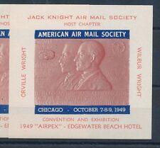 77421)  Luftpost Vignetten Block USA AMS 1949 Chicago Wright..