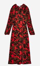 Topshop Red Rose Print Vintage/Retro Style Tie Neck Dress size 12 RARE,SOLD OUT