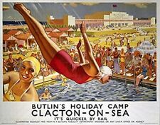 Clacton On Sea, Butlins  (old rail ad.) fridge magnet  (se)
