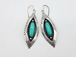 E.M. White Boho Turquoise Leaf Shape Drop Hook Dangle Earrings JM521
