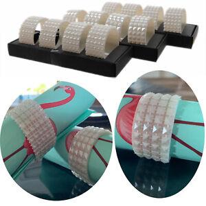 Serviettenringe Set 8 Ringe Perlen / Raute Weiß Diamanten-Look Serviettenhalter