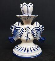 Vintage GZHEL Porcelain Candlestick FISH PISCES Hand Painted USSR 1970s