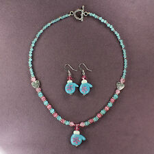MITTENS NECKLACE EARRINGS SET Winter Snow Blue Pink Lampwork Silver Heart Beads