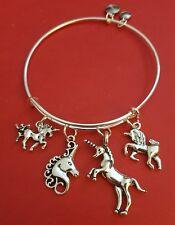 "Silver ""Unicorn"" themed Charm Bracelet (magical, mystical, horse, whimsical)"