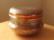 "VINTAGE ARABIC / PERSIAN / ISLAMIC COPPER & METAL LIDDED STORAGE POT ROUGHLY 5""H"