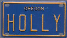 HOLLY Blue Oregon - Mini License Plate - Name Tag - Bicycle Plate!