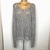 American Eagle Outfitters Women Loose Knit Sweater M Black White Long Sleeve
