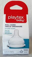 Playtex 2 Silicone Nipples  Full Sized 3-6 mos For Wider Mouths Fast Flow