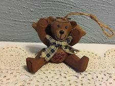 "Teddy Bear Carved Wood Angel , Jointed 4.25"" Tall"