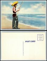 Vintage Postcard - Young Girl Wearing Hat & Hip-Waiters Fishing On Beach H39
