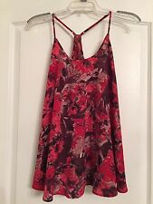 Rock & Republic Woman's Halter Blouse- Red/Brown Floral - Size Small
