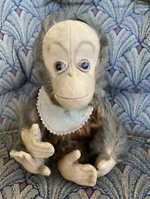 """VINTAGE 9"""" Schuco Mohair Tricky Yes No Working Monkey w/Bib No Tag Soiled No Res"""