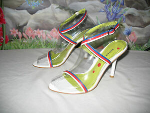 New BRONX Red-White-Blue Leather Dress Sandals 8