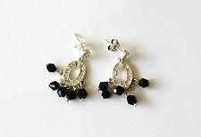 Silver Tone Black Onyx Clear Crystal Rhinestone Dangle Chandelier Earrings